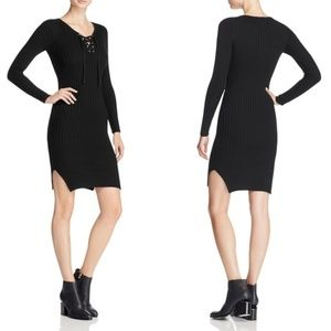 NEW Aqua Black Ribbed Knit Lace Up Sheath Dress